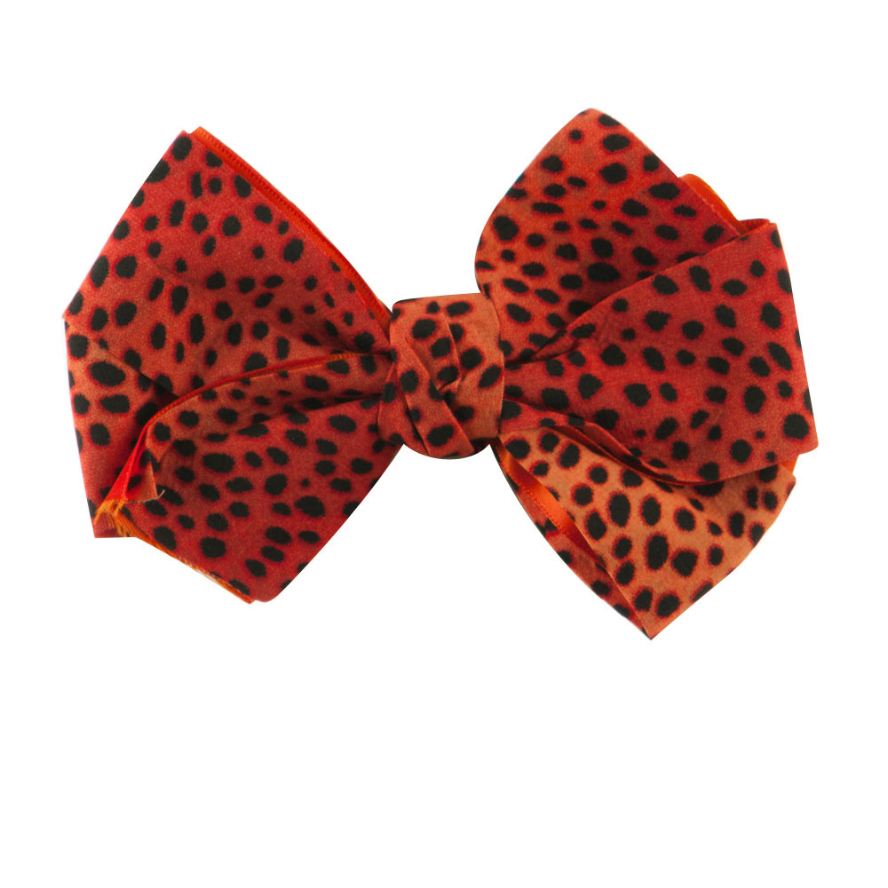Women's Animal Print Bow Tie Pin Clip - Red