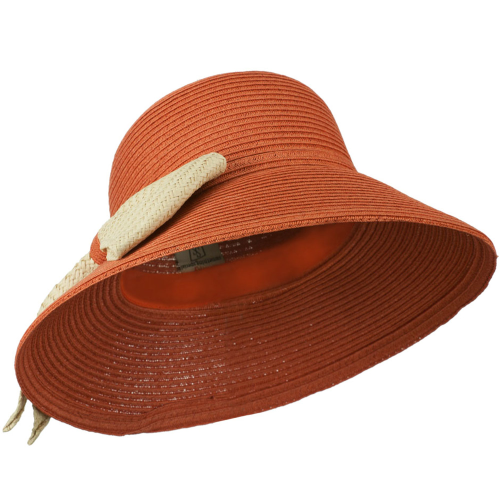 Flat Wide Brim Hat with Big Bow Trim - Rust - Hats and Caps Online Shop - Hip Head Gear