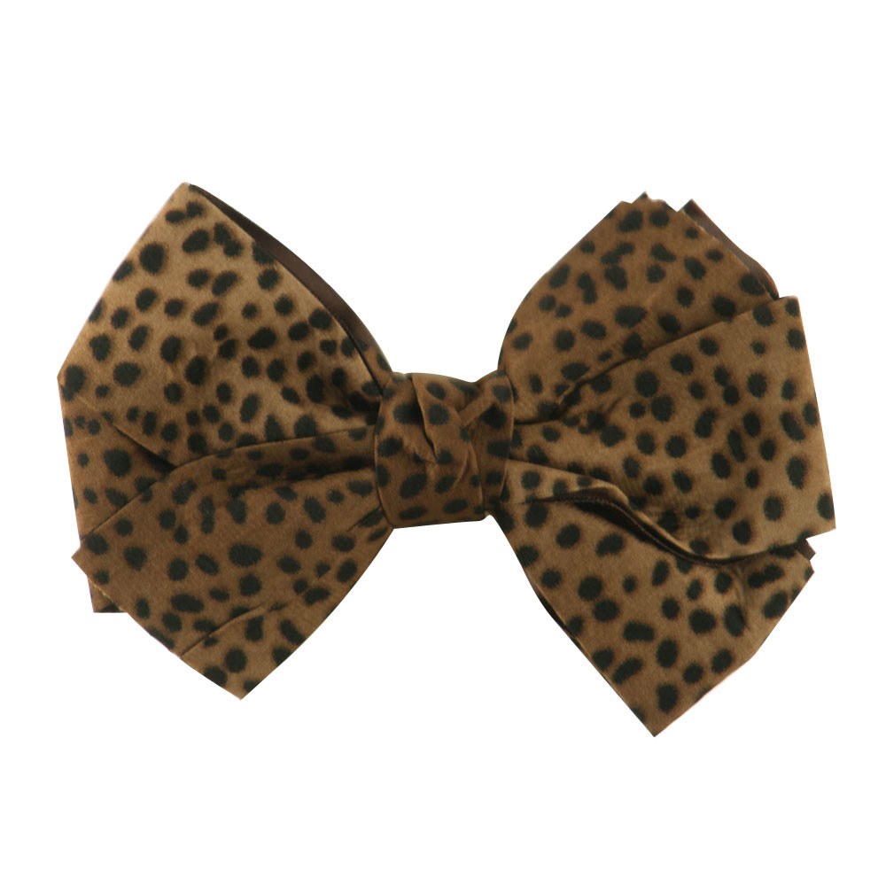 Women's Animal Print Bow Tie Pin Clip - Taupe - Hats and Caps Online Shop - Hip Head Gear