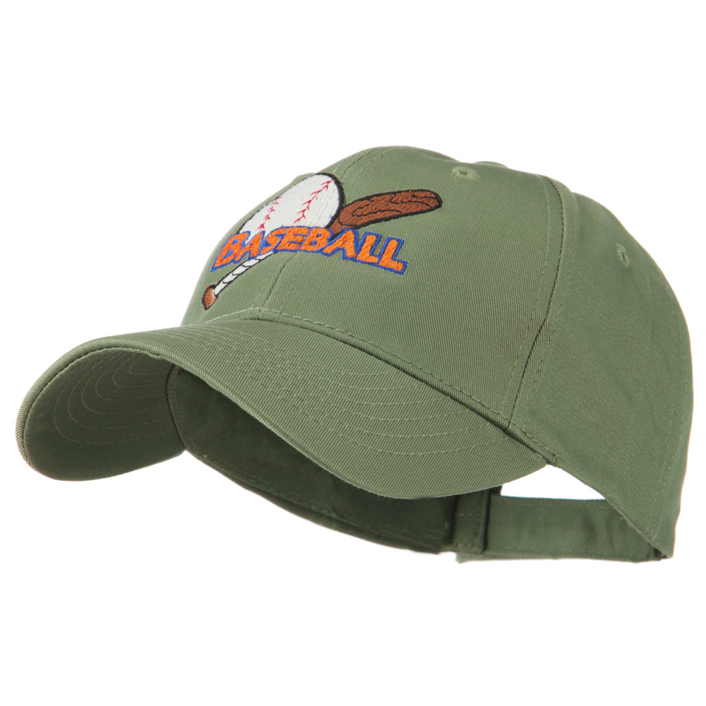 Baseball Ball and Bat Embroidered Cap - Olive - Hats and Caps Online Shop - Hip Head Gear