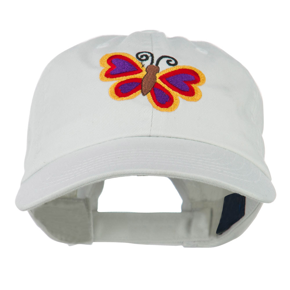 Butterfly Embroidered Cap - White - Hats and Caps Online Shop - Hip Head Gear