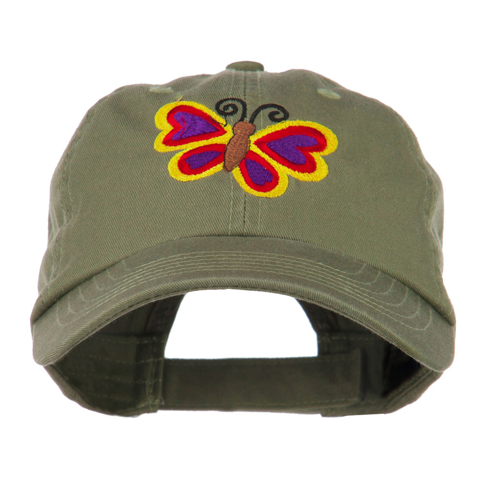 Butterfly Embroidered Cap - Olive - Hats and Caps Online Shop - Hip Head Gear