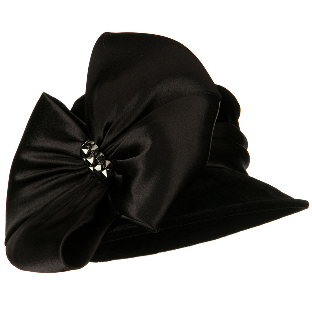 Big Bow Velvet Hat - Black - Hats and Caps Online Shop - Hip Head Gear