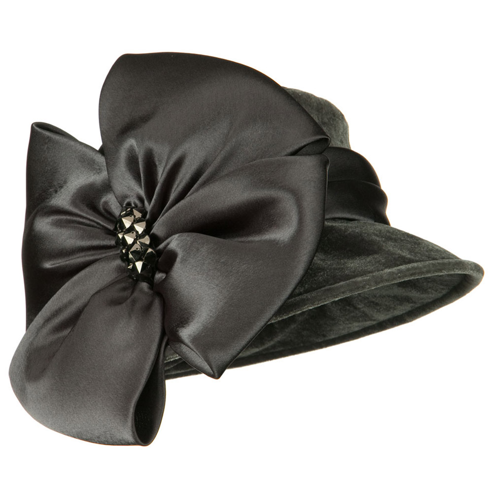 Big Bow Velvet Hat - Grey - Hats and Caps Online Shop - Hip Head Gear