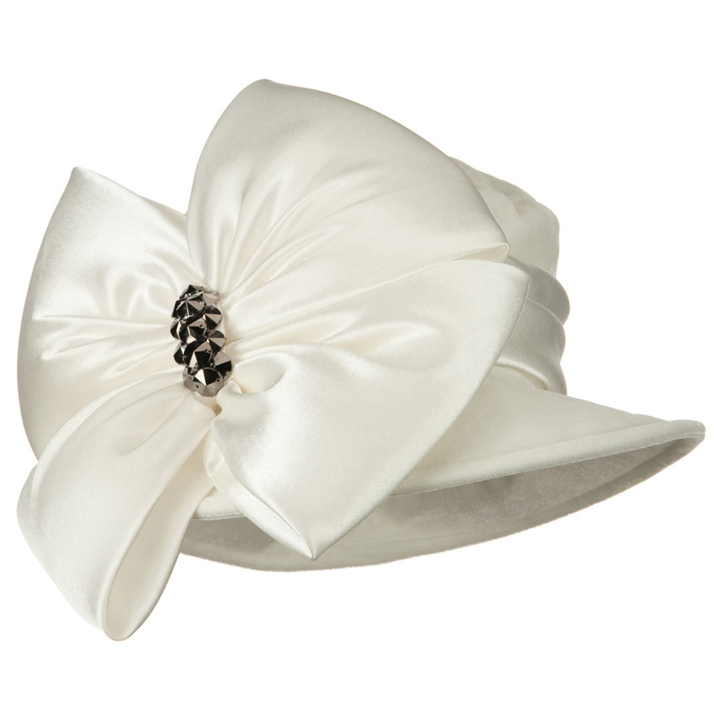 Big Bow Velvet Hat - Ivory - Hats and Caps Online Shop - Hip Head Gear