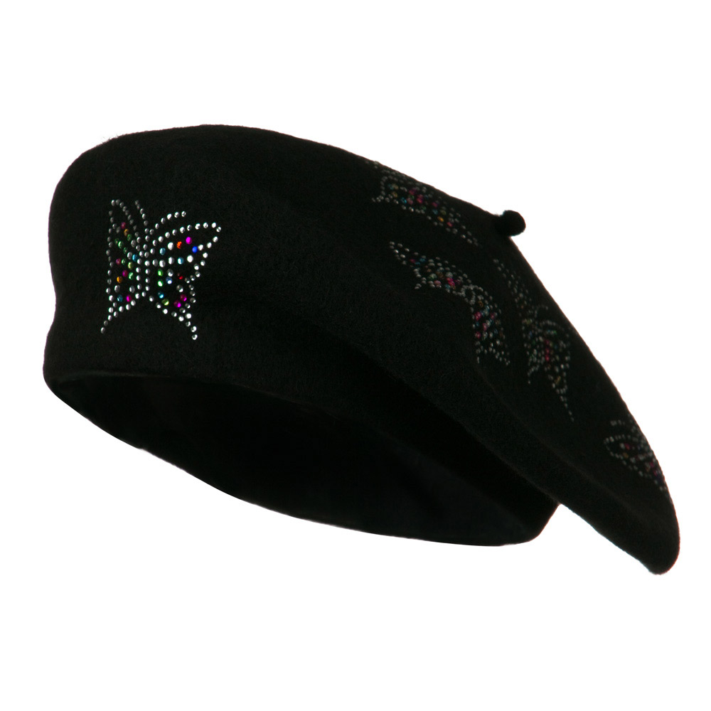 Butterfly Wool Beret - Black - Hats and Caps Online Shop - Hip Head Gear