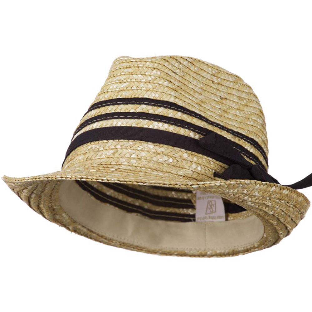 Wheat Braid Fedora Hat with Band - Black - Hats and Caps Online Shop - Hip Head Gear