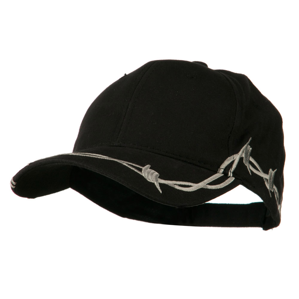 6 Panel Barbed Wire Frayed Design Cap - Black - Hats and Caps Online Shop - Hip Head Gear