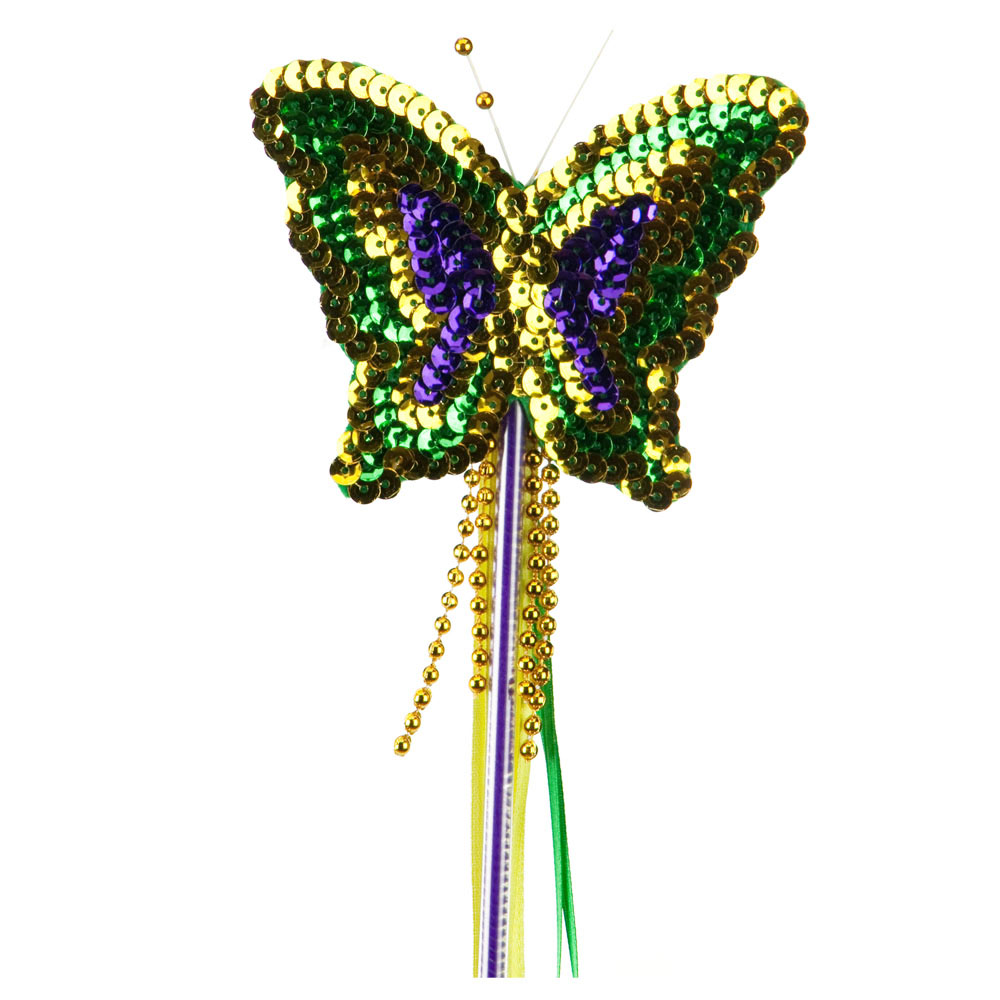 Sequin Mardi Gras Butterfly Wand - Green Yellow Purple - Hats and Caps Online Shop - Hip Head Gear