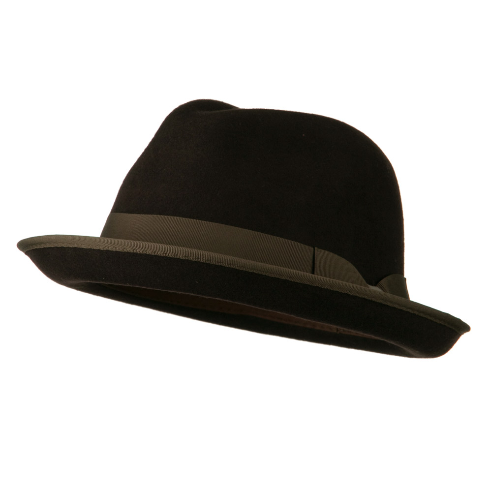 Upturned Rollup Brim Wool Felt Fedora Hat - Chocolate - Hats and Caps Online Shop - Hip Head Gear