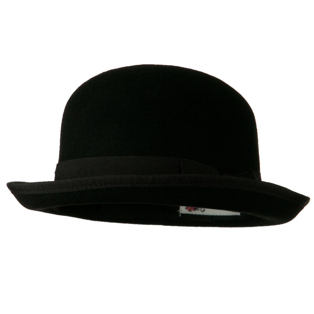 Bowler Wool Felt Hat with Solid Band - Black - Hats and Caps Online Shop - Hip Head Gear