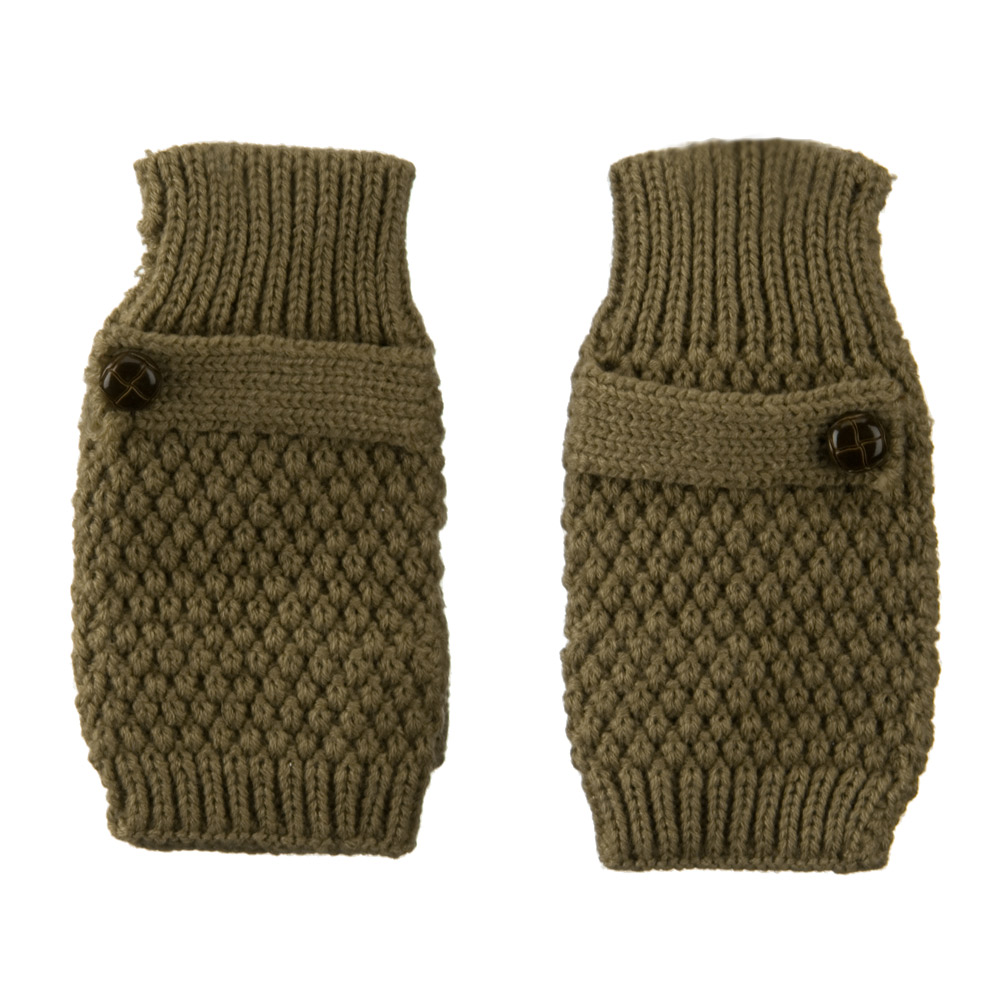 7 Inches Thumb Basket Weave Arm Warmer - Taupe
