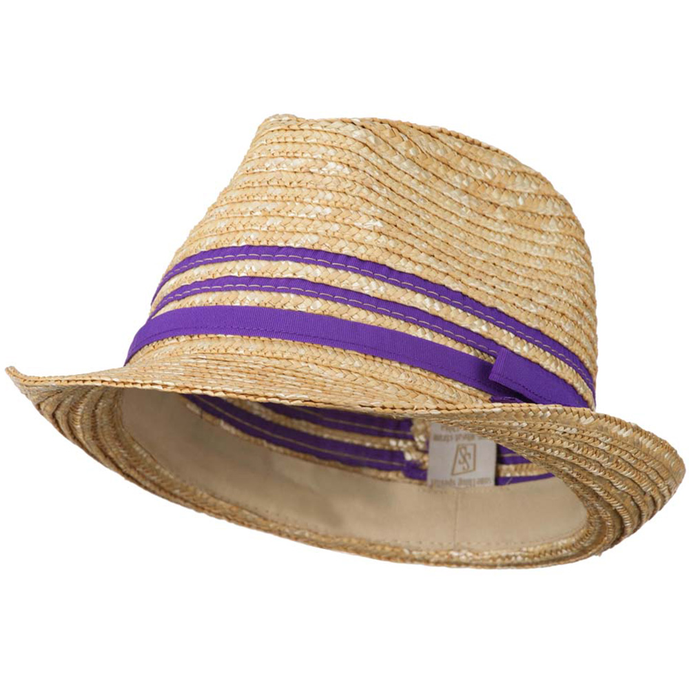 Wheat Braid Fedora Hat with Band - Purple - Hats and Caps Online Shop - Hip Head Gear