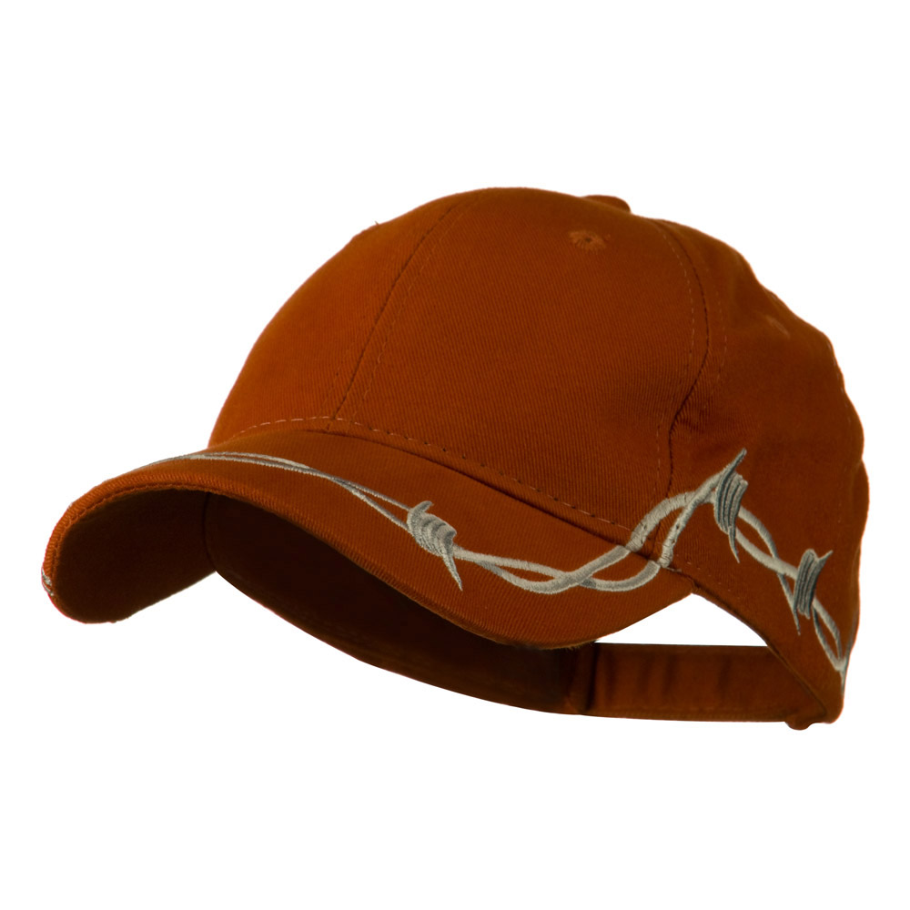 6 Panel Barbed Wire Frayed Design Cap - Orange - Hats and Caps Online Shop - Hip Head Gear