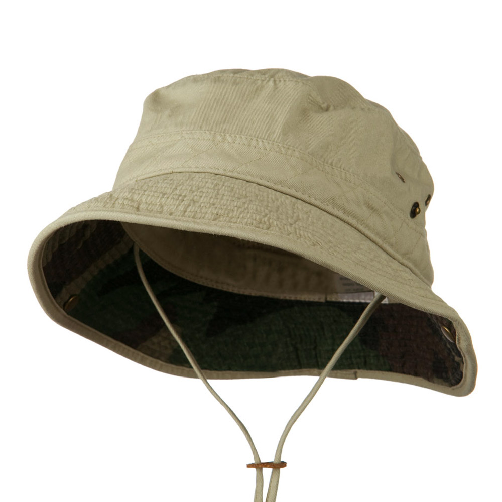 Big Size Camouflaged Brim Cotton Washed Bucket Hat - Khaki - Hats and Caps Online Shop - Hip Head Gear