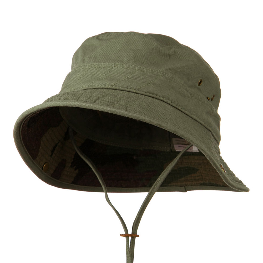Big Size Camouflaged Brim Cotton Washed Bucket Hat - Olive - Hats and Caps Online Shop - Hip Head Gear