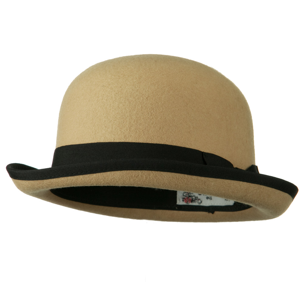 Bowler Wool Felt Hat with Solid Band - Tan - Hats and Caps Online Shop - Hip Head Gear