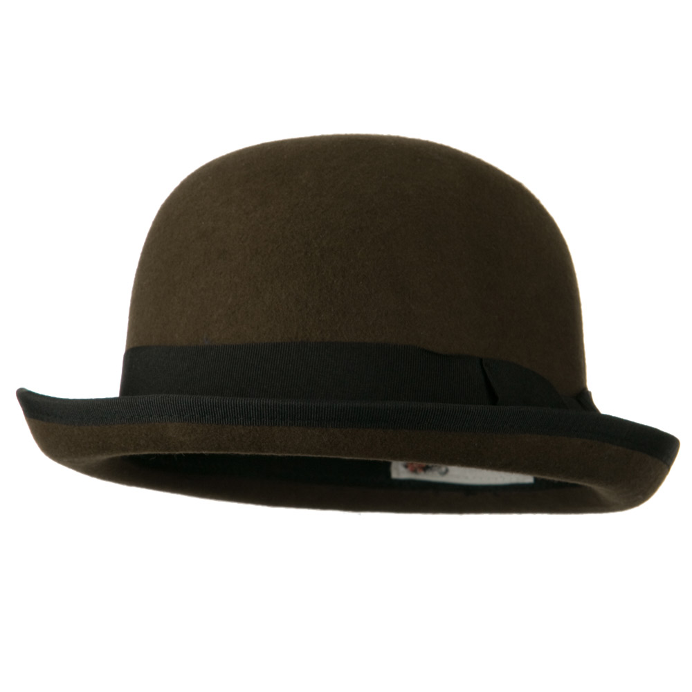 Bowler Wool Felt Hat with Solid Band - Brown - Hats and Caps Online Shop - Hip Head Gear
