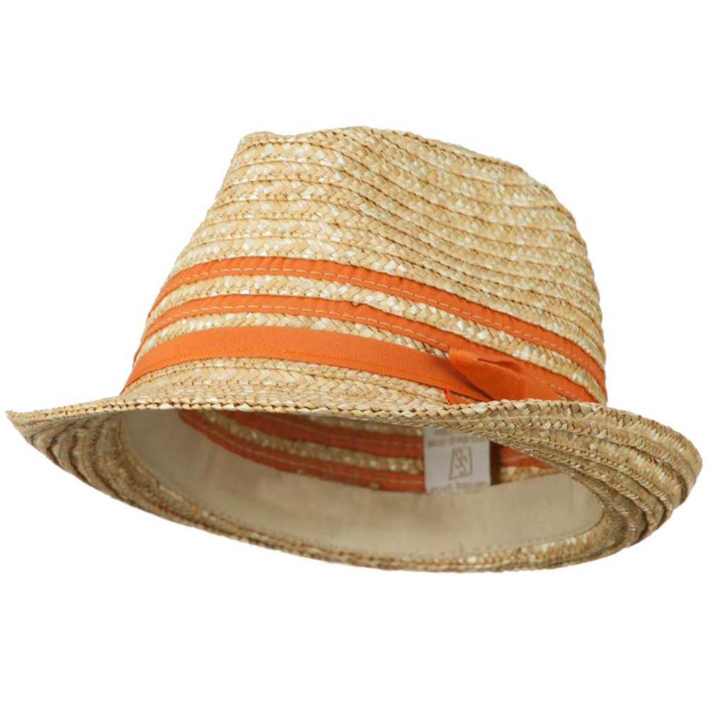Wheat Braid Fedora Hat with Band - Orange - Hats and Caps Online Shop - Hip Head Gear