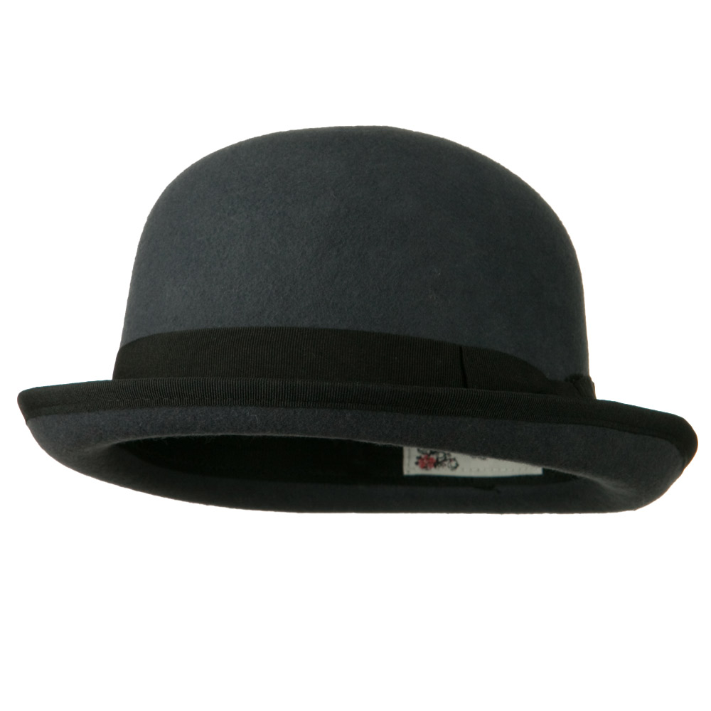 Bowler Wool Felt Hat with Solid Band - Grey - Hats and Caps Online Shop - Hip Head Gear