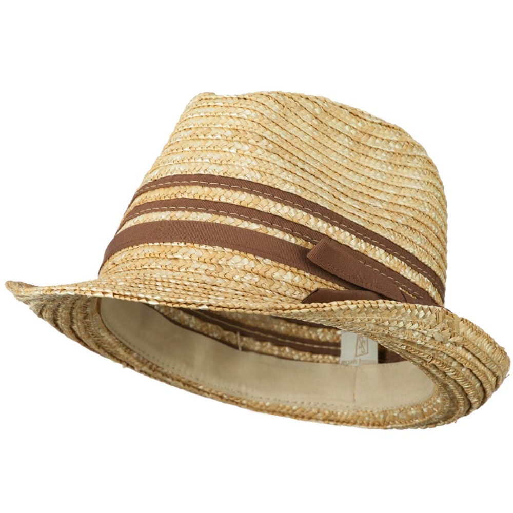Wheat Braid Fedora Hat with Band - Brown - Hats and Caps Online Shop - Hip Head Gear