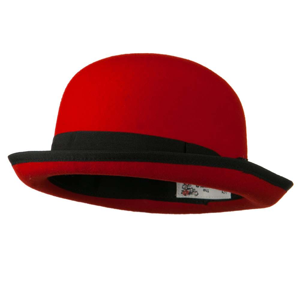 Bowler Wool Felt Hat with Solid Band - Red - Hats and Caps Online Shop - Hip Head Gear