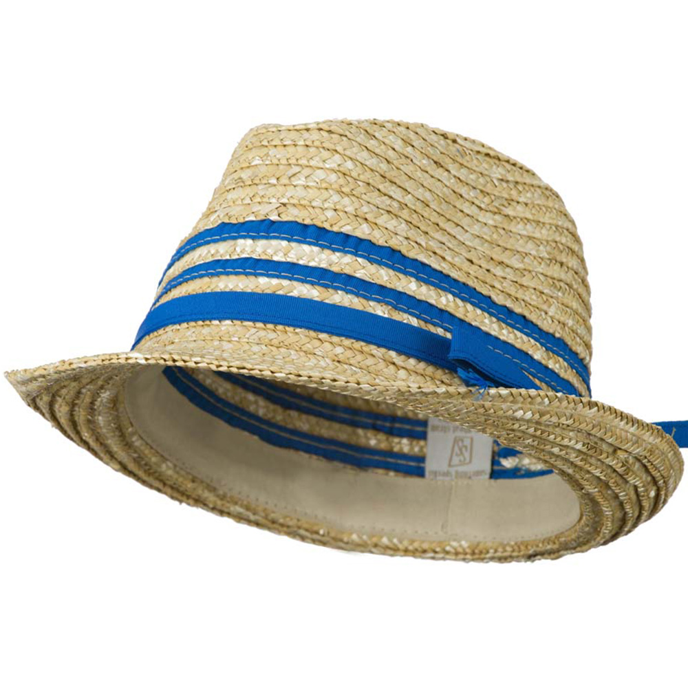 Wheat Braid Fedora Hat with Band - Blue - Hats and Caps Online Shop - Hip Head Gear