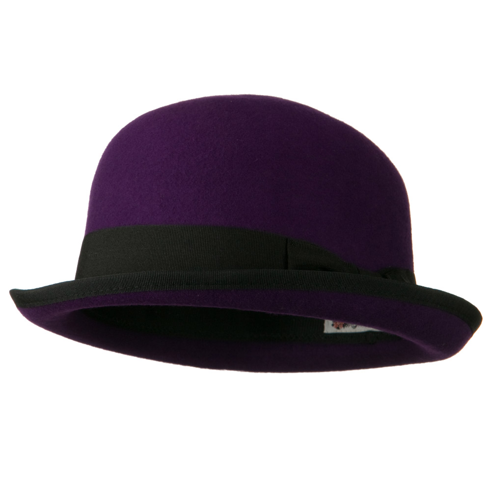 Bowler Wool Felt Hat with Solid Band - Purple - Hats and Caps Online Shop - Hip Head Gear