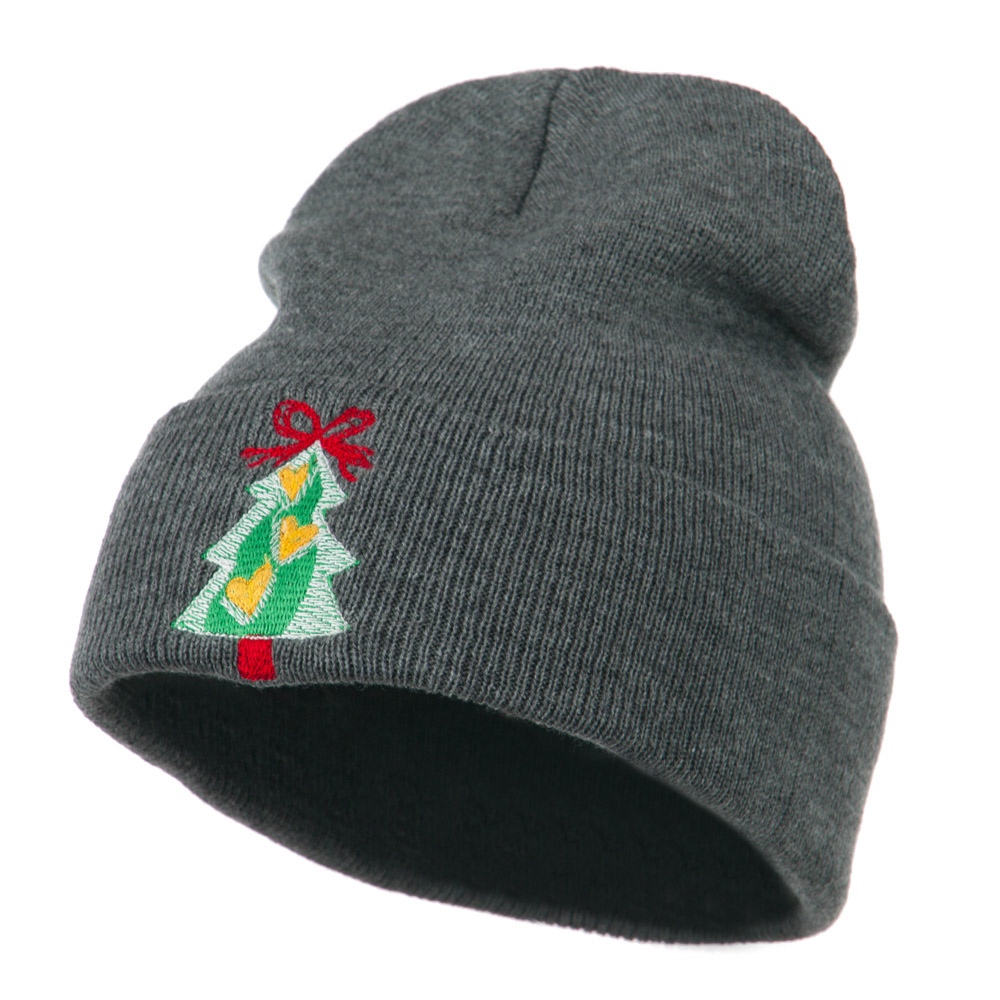 Christmas Tree Hearts Bow Embroidered Beanie - Grey - Hats and Caps Online Shop - Hip Head Gear