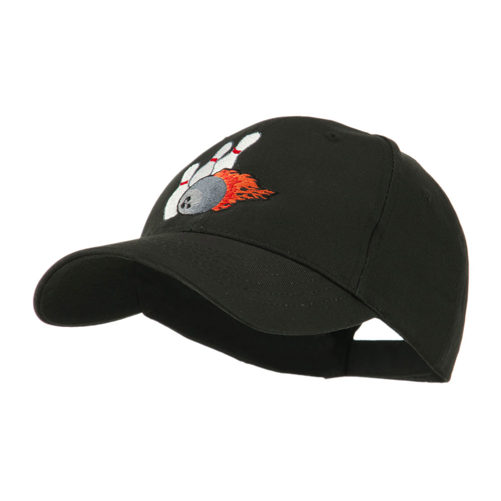 Bowling Ball and Pins Embroidered Cap - Black - Hats and Caps Online Shop - Hip Head Gear