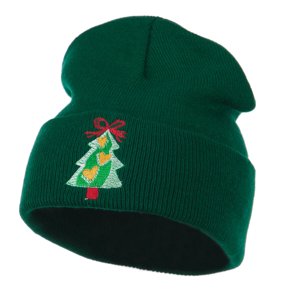 Christmas Tree Hearts Bow Embroidered Beanie - Green - Hats and Caps Online Shop - Hip Head Gear