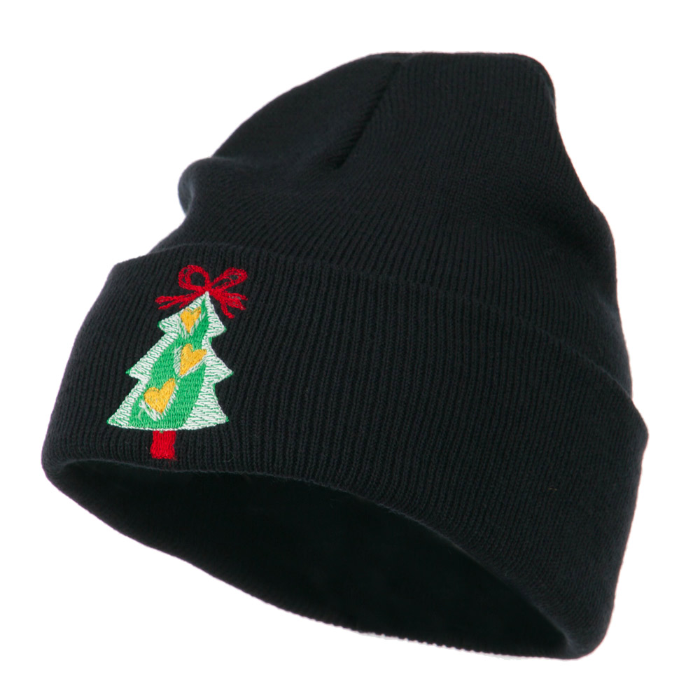 Christmas Tree Hearts Bow Embroidered Beanie - Navy - Hats and Caps Online Shop - Hip Head Gear