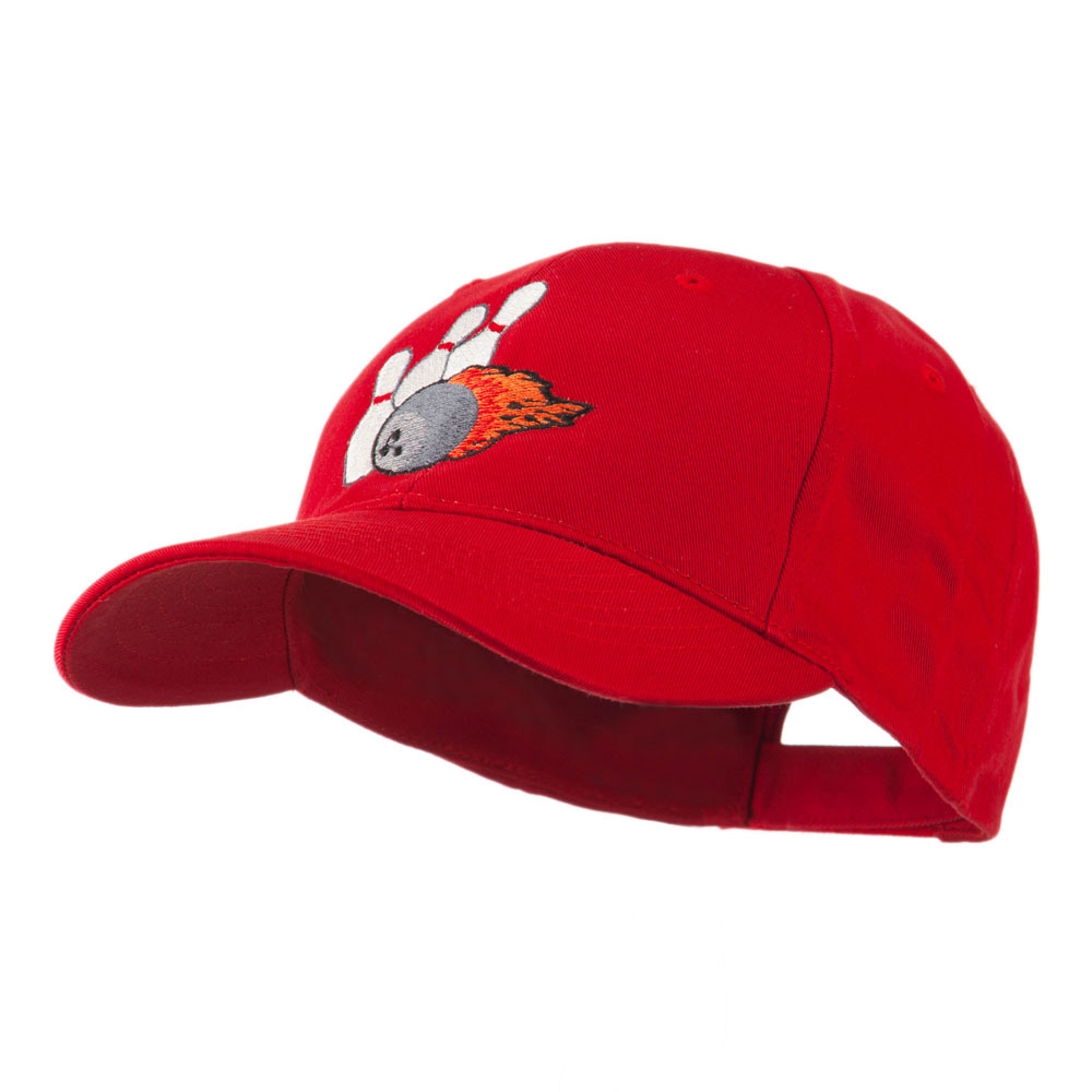 Bowling Ball and Pins Embroidered Cap - Red - Hats and Caps Online Shop - Hip Head Gear