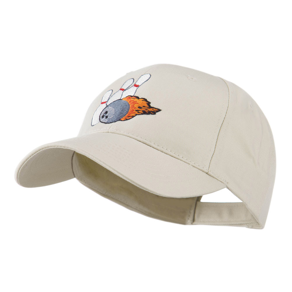 Bowling Ball and Pins Embroidered Cap - Stone - Hats and Caps Online Shop - Hip Head Gear