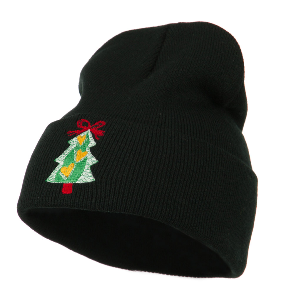 Christmas Tree Hearts Bow Embroidered Beanie - Black - Hats and Caps Online Shop - Hip Head Gear
