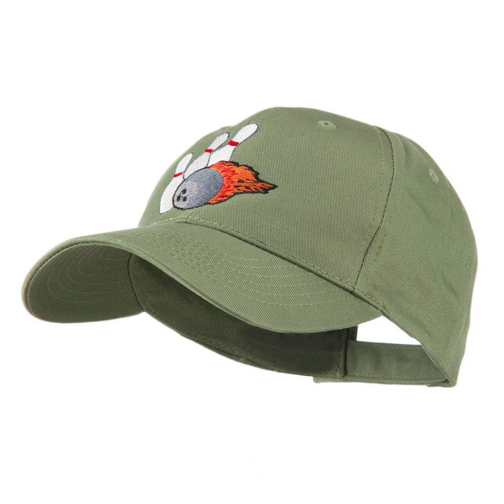 Bowling Ball and Pins Embroidered Cap - Olive - Hats and Caps Online Shop - Hip Head Gear