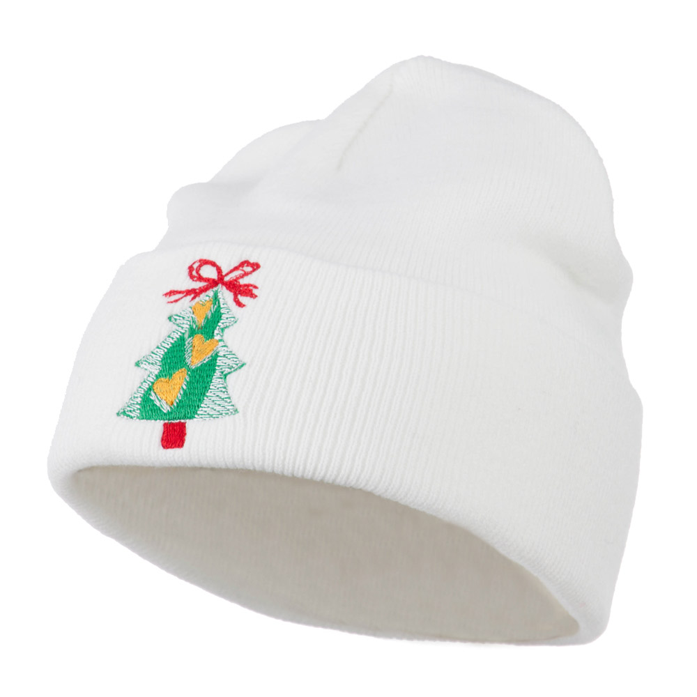 Christmas Tree Hearts Bow Embroidered Beanie - White - Hats and Caps Online Shop - Hip Head Gear