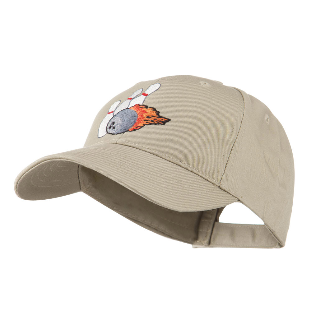 Bowling Ball and Pins Embroidered Cap - Khaki - Hats and Caps Online Shop - Hip Head Gear