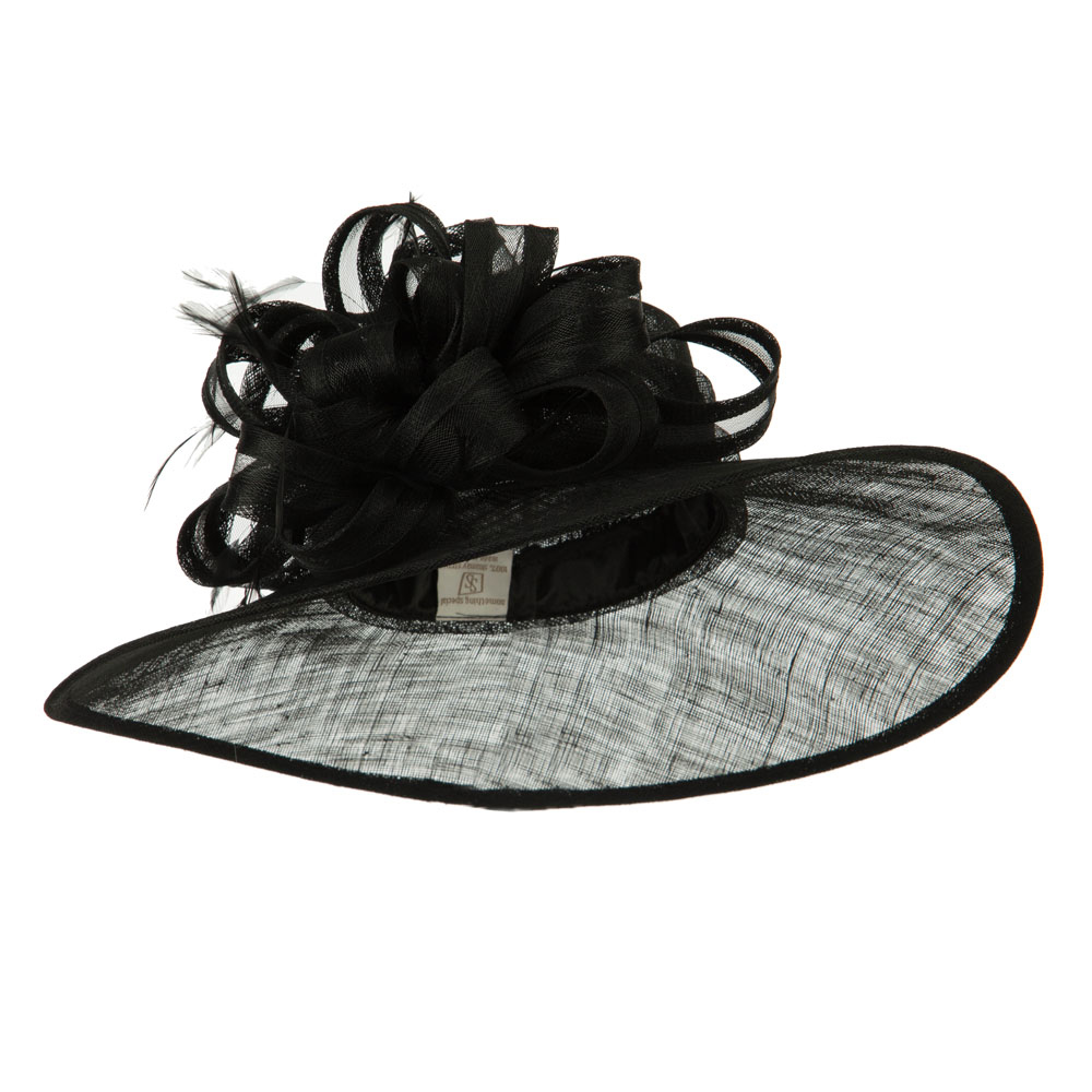 Big Bow Accent Fashion Sinamay Hat - Black