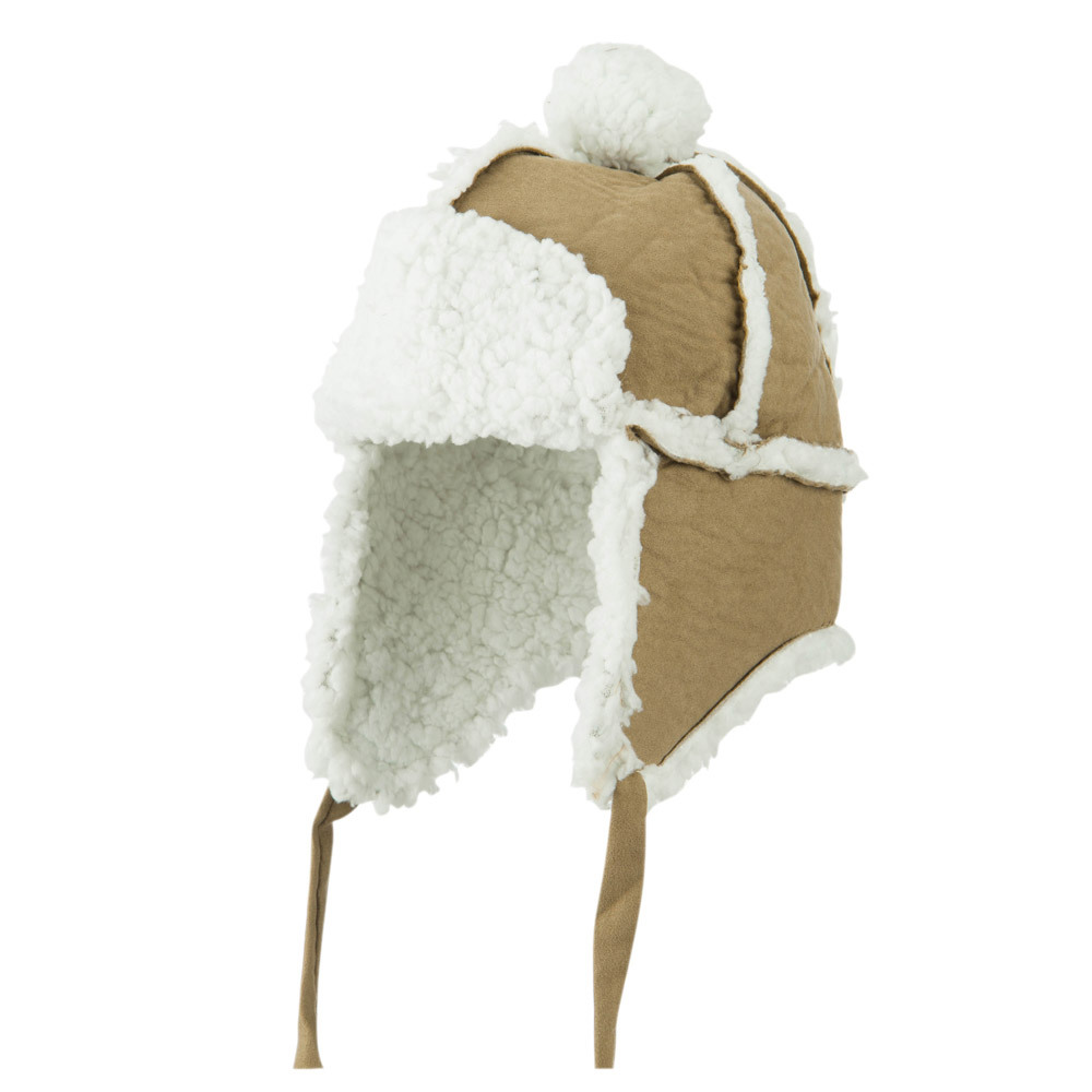 Boys' Pom Pom Polyester Trooper Hat - Brown - Hats and Caps Online Shop - Hip Head Gear