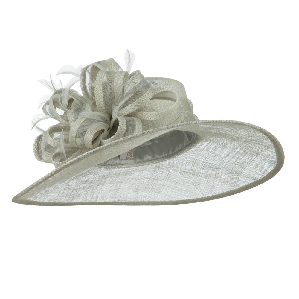 Big Bow Accent Fashion Sinamay Hat - Light Grey - Hats and Caps Online Shop - Hip Head Gear