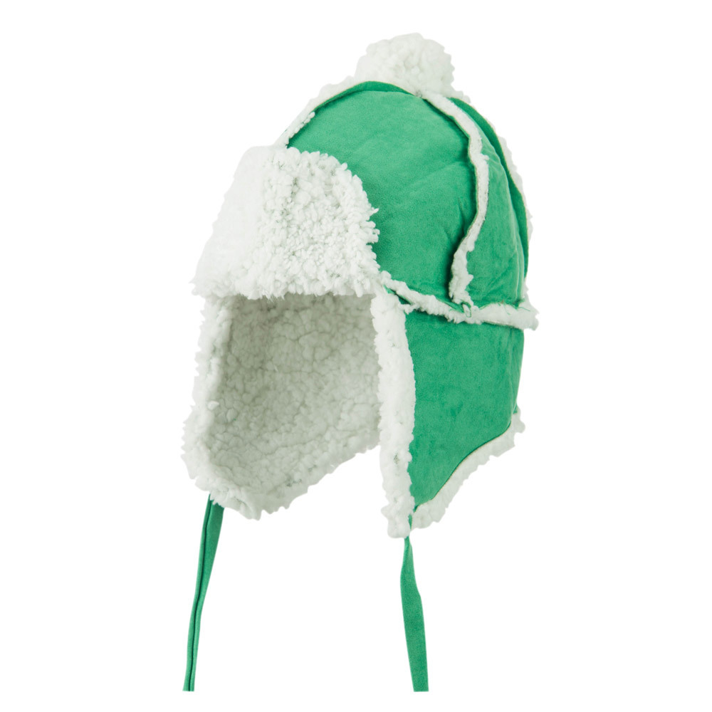 Boys' Pom Pom Polyester Trooper Hat - Green - Hats and Caps Online Shop - Hip Head Gear