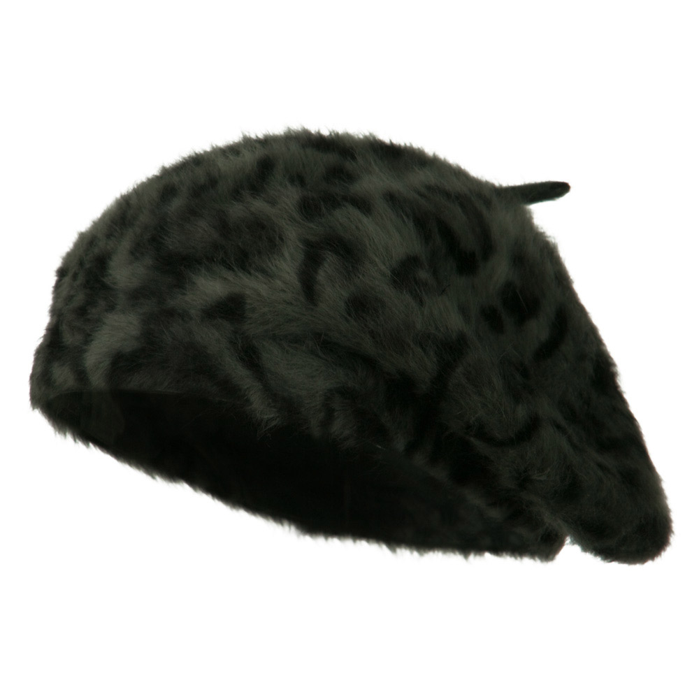 Cheetah Angora Beret - Grey - Hats and Caps Online Shop - Hip Head Gear