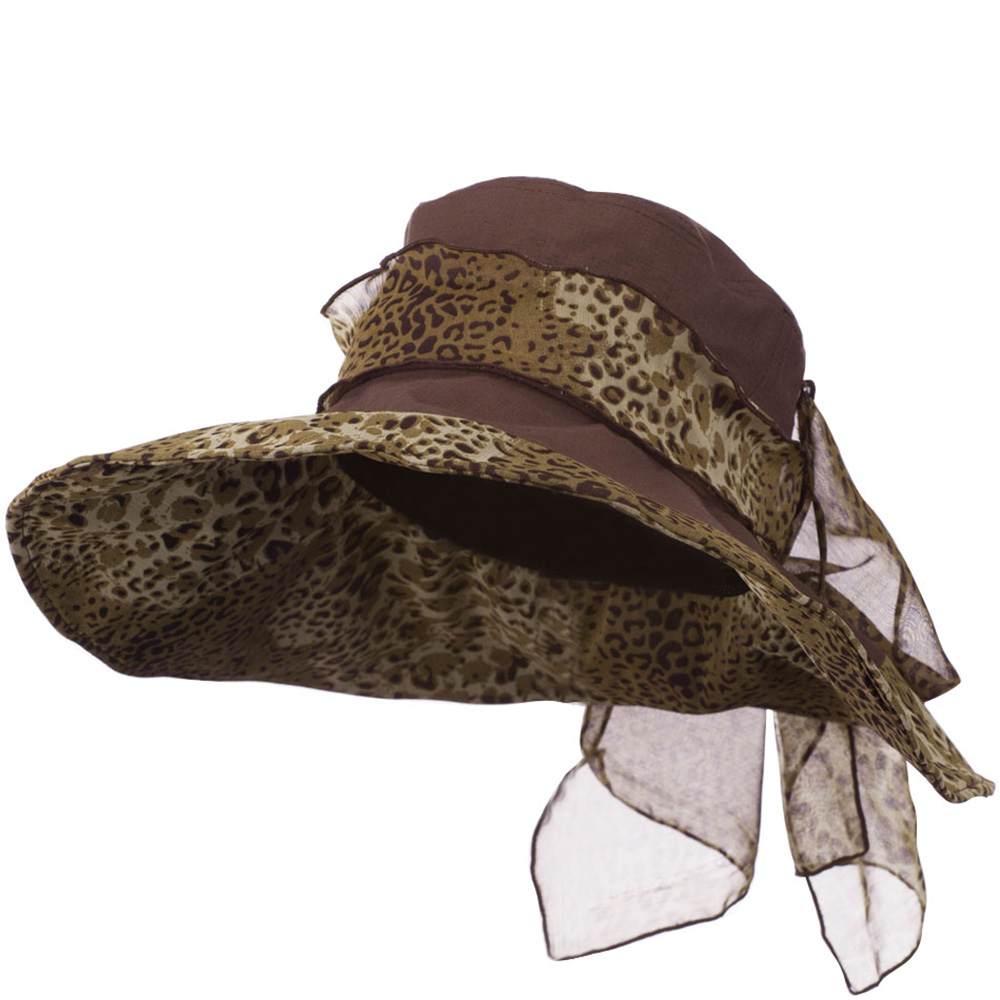 Crushable Animal Print Hat with Wide Brim - Brown - Hats and Caps Online Shop - Hip Head Gear