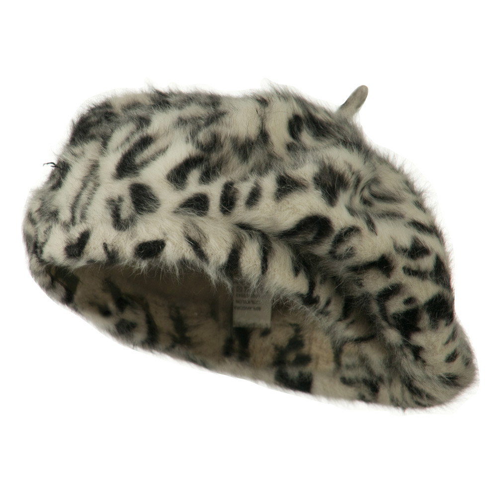 Cheetah Angora Beret - White - Hats and Caps Online Shop - Hip Head Gear