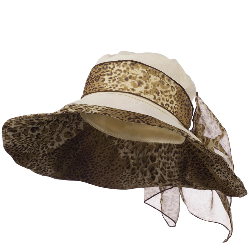 Crushable Animal Print Hat with Wide Brim - Beige - Hats and Caps Online Shop - Hip Head Gear