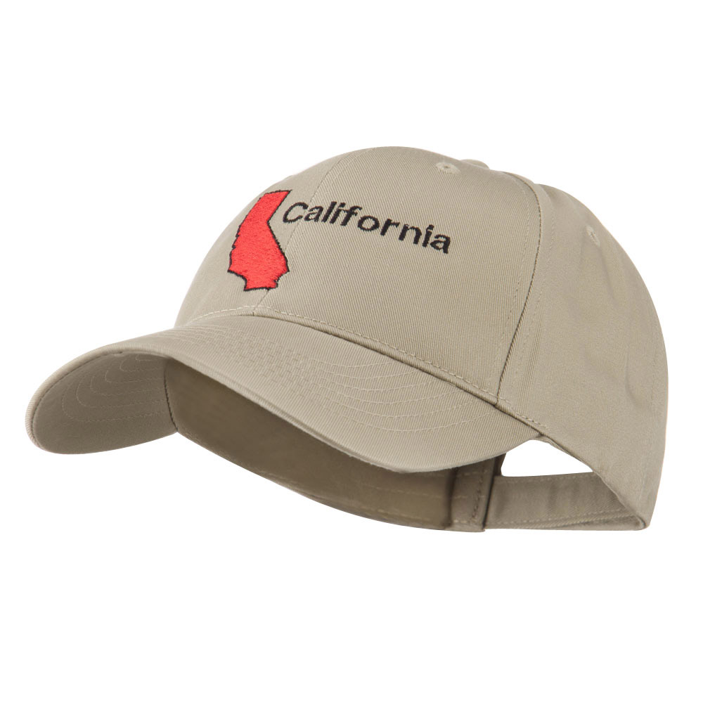 California Image with Wording Embroidered Cap - Khaki - Hats and Caps Online Shop - Hip Head Gear