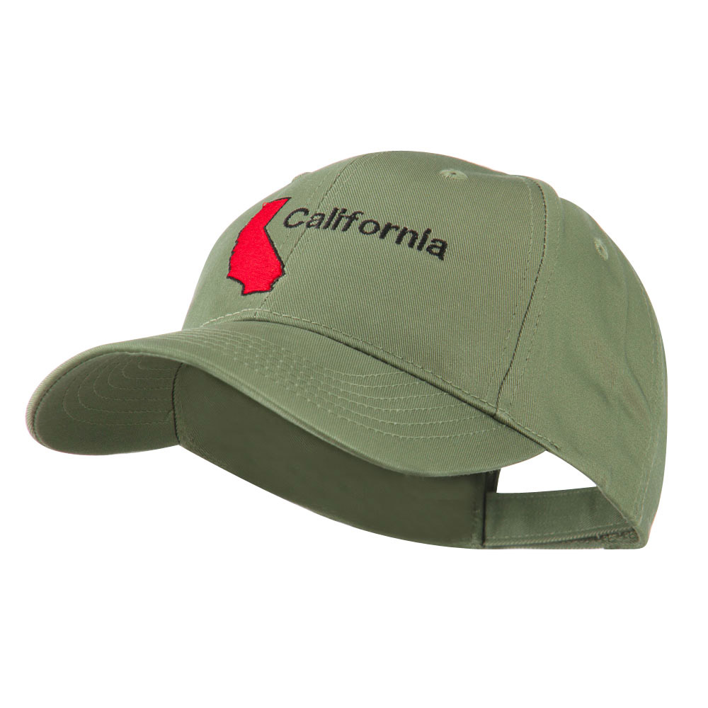 California Image with Wording Embroidered Cap - Olive - Hats and Caps Online Shop - Hip Head Gear