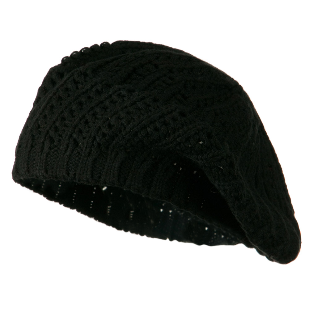Crocheted Knit Beret - Black - Hats and Caps Online Shop - Hip Head Gear