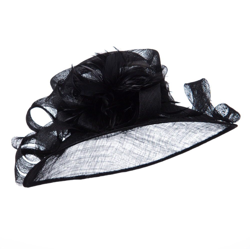 Curl Bow Feather Sinamay Hat - Black - Hats and Caps Online Shop - Hip Head Gear